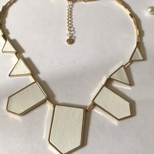 Statement leather gold plated necklace